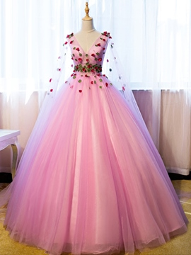 Ericdress Long Sleeves Flowers Floor-Length Ball Quinceanera Dress