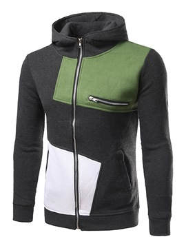 Ericdress Zip Pocket Color Block Casual Men's Hoodie