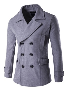 Ericdress Plain Lapel Double-Breasted Men's Woolen Coat