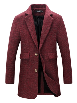 Ericdress Pocket Mid-Length Quality Classic Slim Men's Woolen Coat