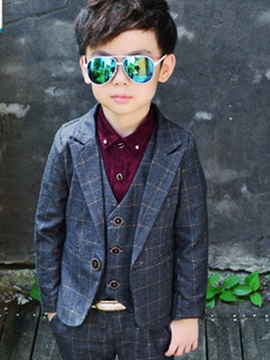Ericdress British style Plaid Three-Piece Boys Casual Suit