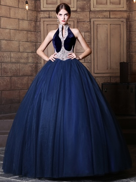 Ericdress Vintage High Neck perles dentelle Ball Quinceanera robe