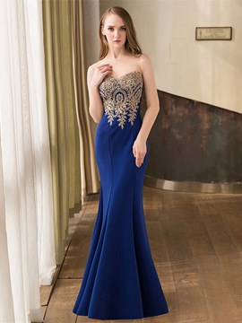 Ericdress Mermaid Sweetheart Appliques Beading Floor-Length Evening Dress