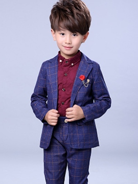 Ericdress Plaid One Button Blazer Pants Casual Boys Suit