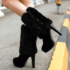 Ericdress Suede Furry Platform High Heel Boots