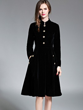 Ericdress Fashion Mandarin Collar Button Casual Dress
