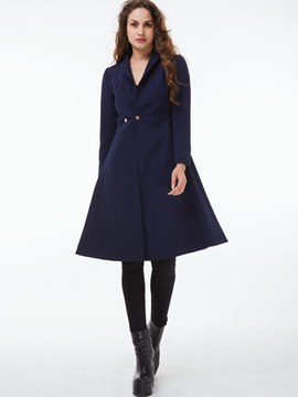 Ericdress Plain Turn-Down Slim Coat