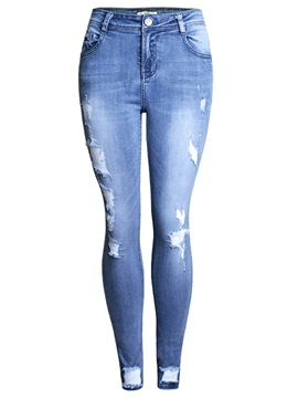 Ericdress Ripped Pencile Jeans