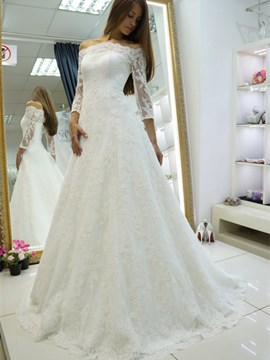 Ericdress Court A-Line 3/4 Length Sleeves Floor-Length Hall Wedding Dress