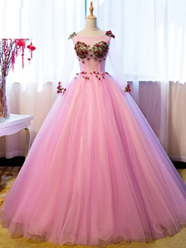 Ericdress 3/4 manches Flower appliques Tulle robe de bal Quinceanera