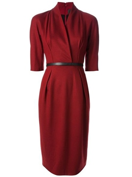 Ericdress Cross Half Sleeve Pleated Sheath Dress