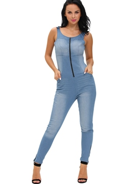 Ericdress Simple Backless Denim Jumpsuits Pants