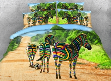 Colorful Zebra Printed Cotton 4-Piece 3D Bedding Sets/Duvet Covers