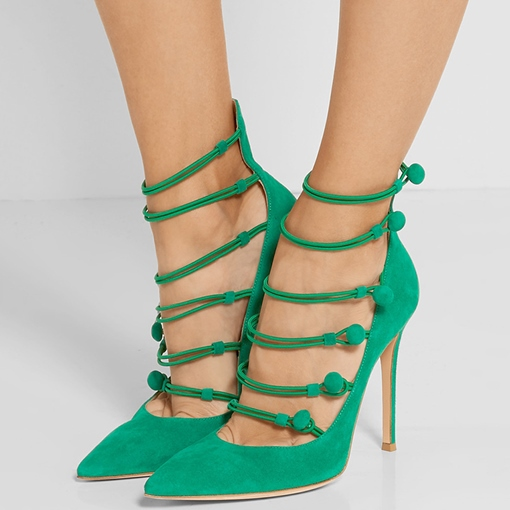 Ericdress Suede Point Toe Cut Out Stiletto Prom Shoes