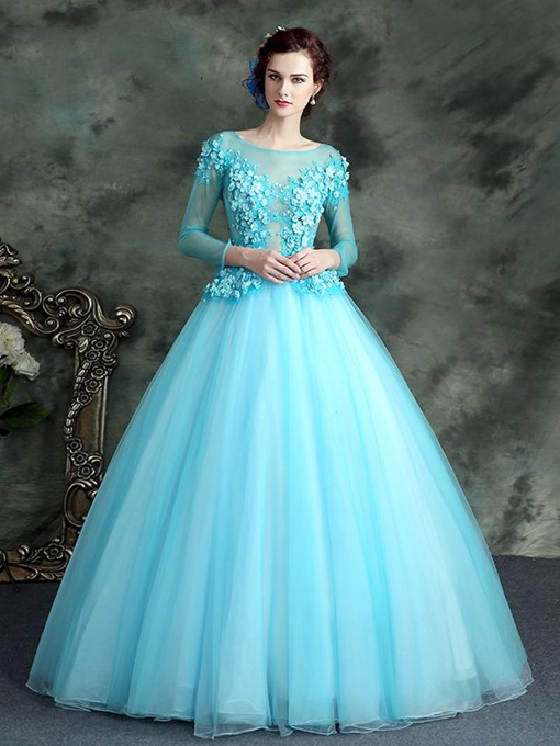 Ericdress 3/4 Sleeves Flower Applique Lace Up Back Ball Quinceanera Dress