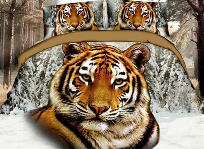 Vivilinen Imperatorial 3D Tiger Printed 4-Piece Polyester Duvet Cover Sets