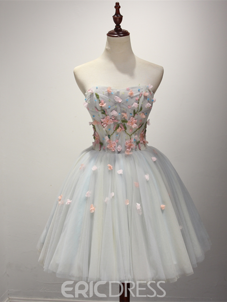 Ericdress Short A Line Strapless Beaded Homecoming Dress With Lace Up