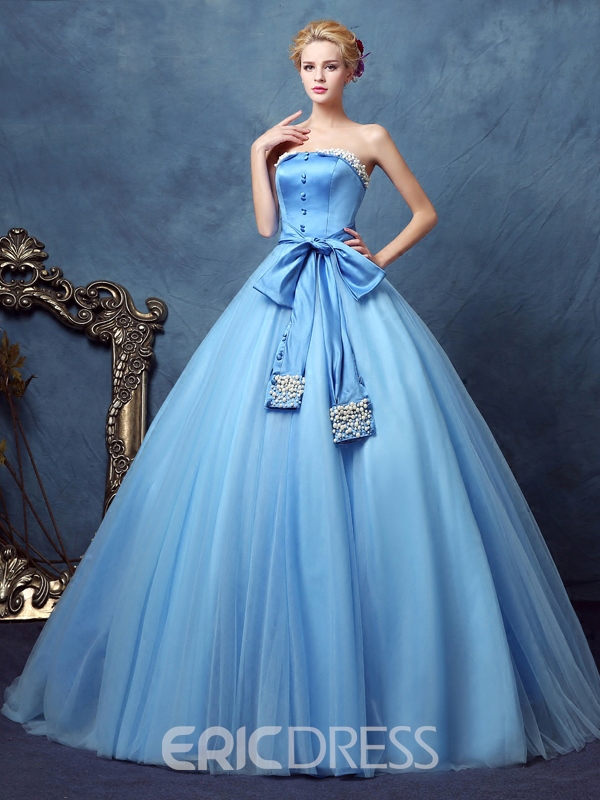 Ericdress Strapless Bowknot Button Pearls Floor-Length Ball Gown Quinceanera Dress