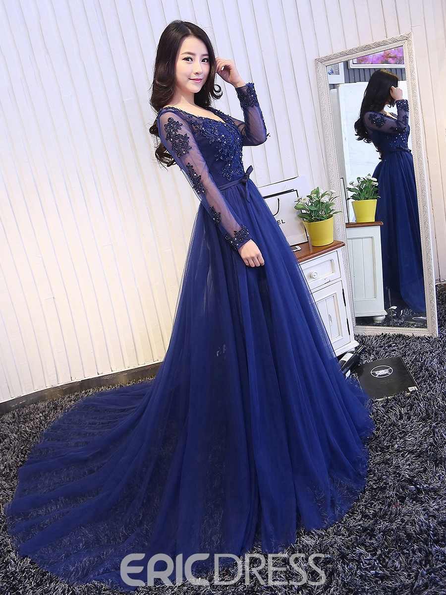 Ericdress A-Line V-Neck Long Sleeves Lace Applique Long Evening Dress