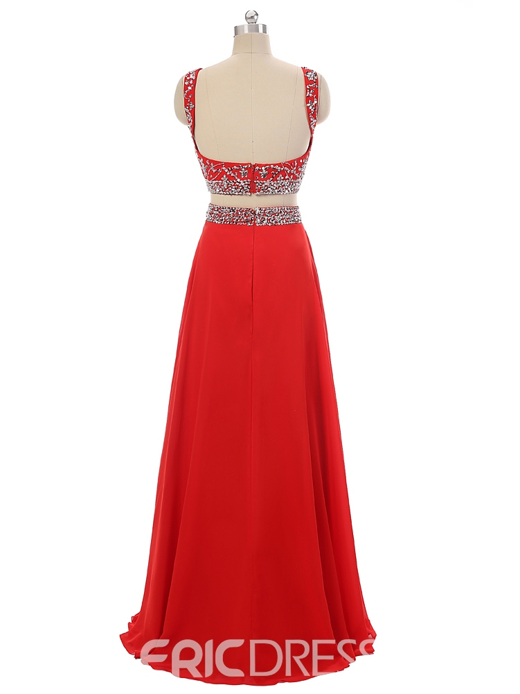 Ericdress Fashion Two Pieces A-Line Scoop Beading Crystal Long Prom Dress
