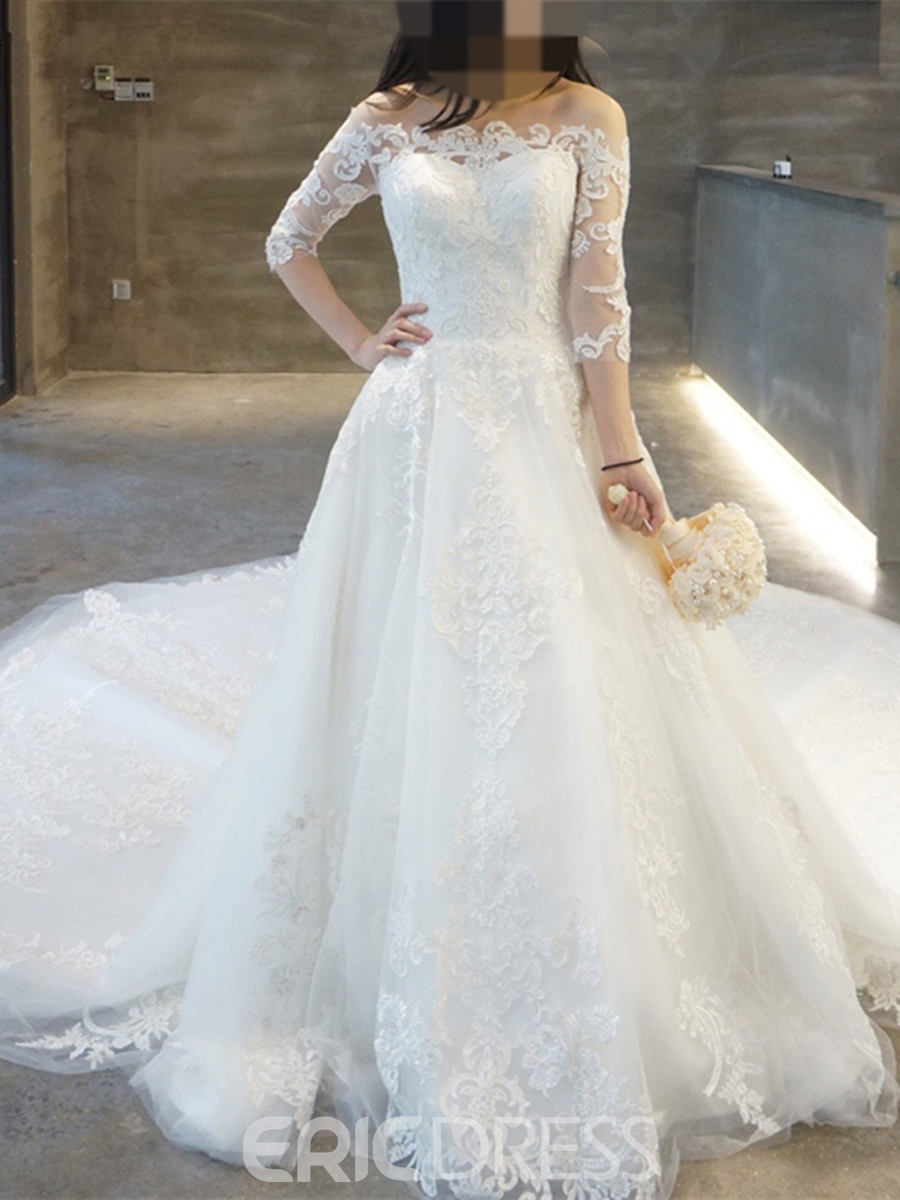 Ericdress Delicate Off-the-Shoulder Beaded Appliques A Line Wedding Dress
