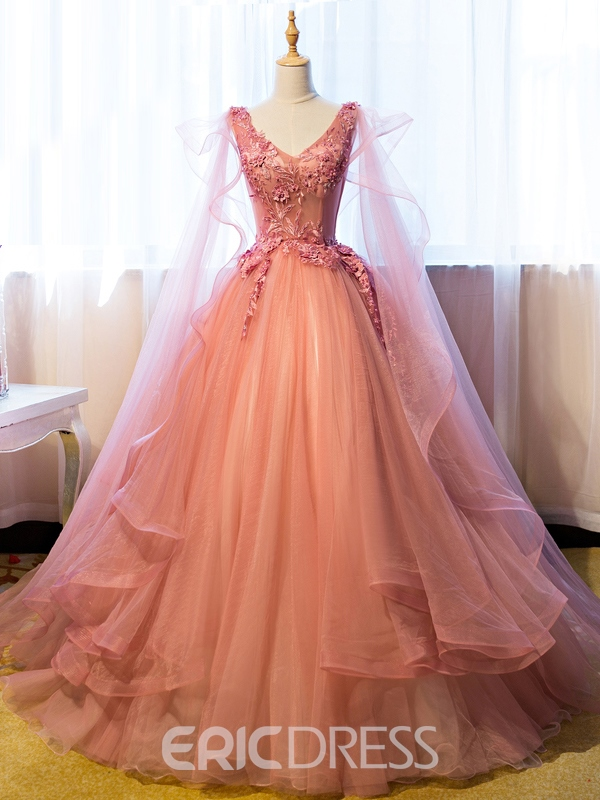 Ericdress Ball Gown V-Neck Appliques Beading Floor-Length Quinceanera Ball Gown Dress