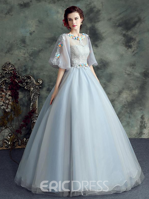 Ericdress Bateau Half Sleeves Appliques Lace Floor-Length Ball Gown Quinceanera Dress