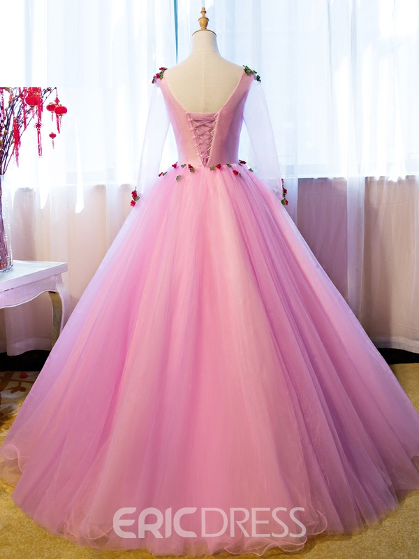 Ericdress 3/4 Sleeve Flower Applique Tulle Ball Quinceanera Gown