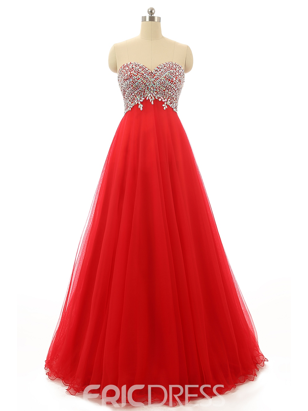 Ericdress A-Line Sweetheart Beading Crystal Lace-Up Long Prom Dress