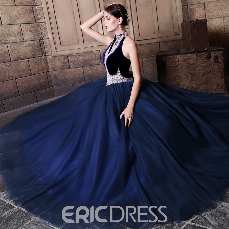 Ericdress Vintage High Neck Beaded Lace Up Ball Quinceanera Dress