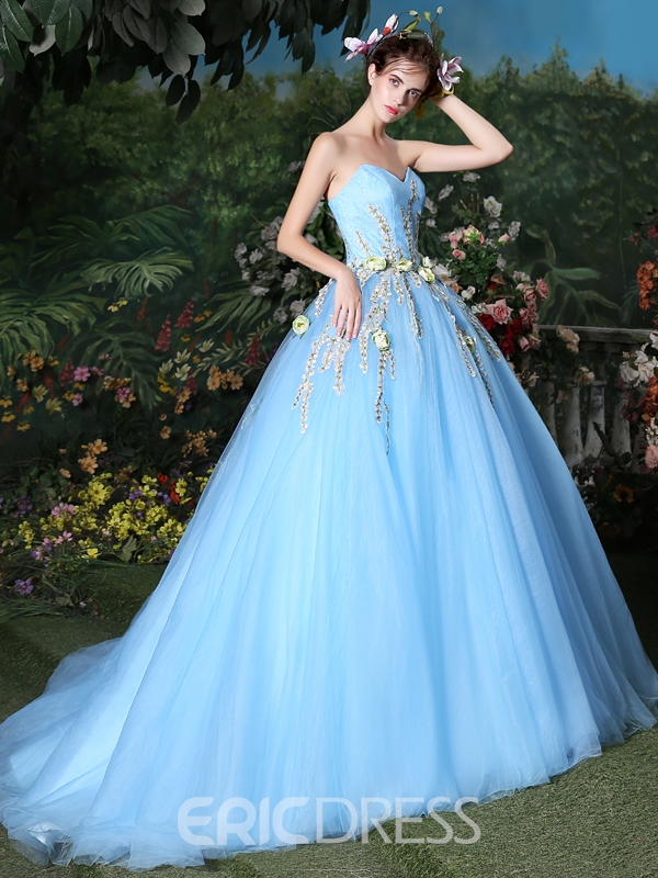 Ericdress Ball Gown Sweetheart Embroidery Floor-Length Quinceanera Dress