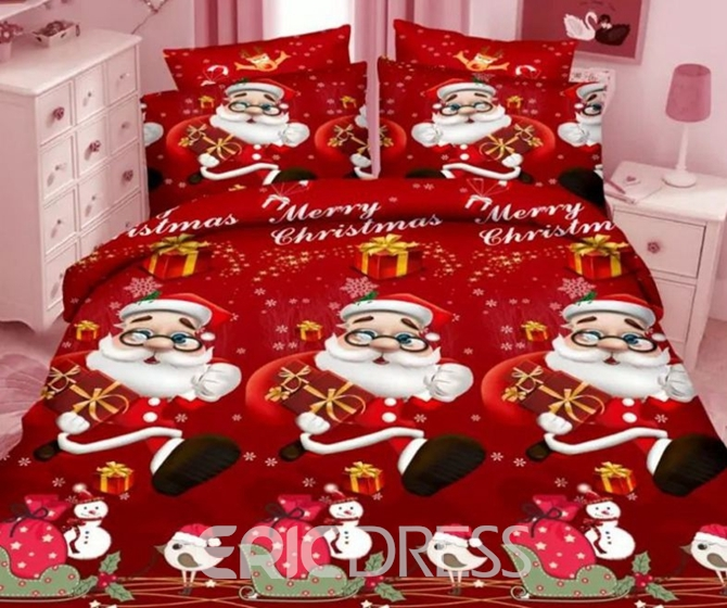 Vivilinen Lovely Christmas 3D Santa Printed 4-Piece Polyester Duvet Cover Sets