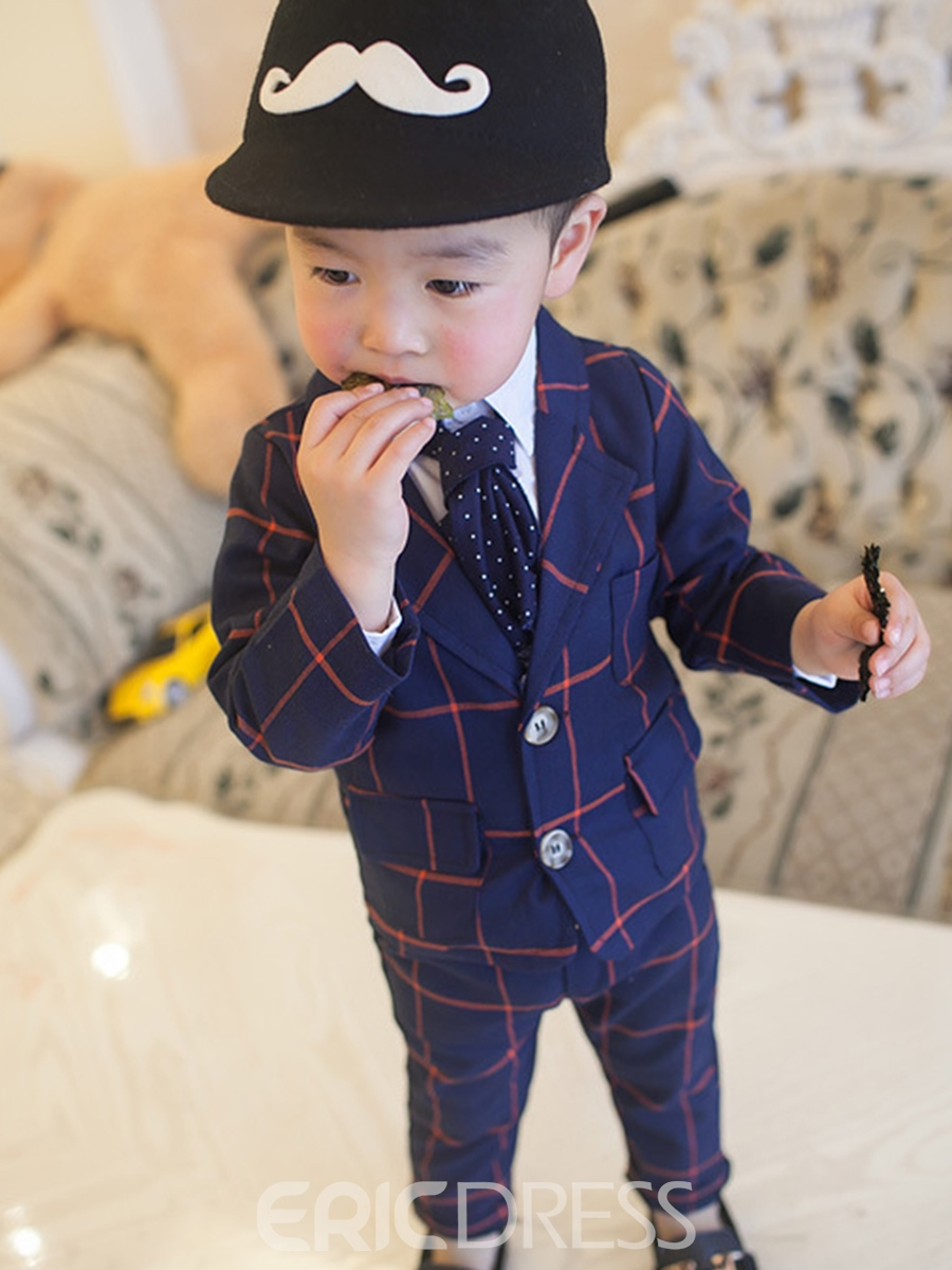 Ericdress Plaid Notched Lapel 2-Piece of Boy's Suit