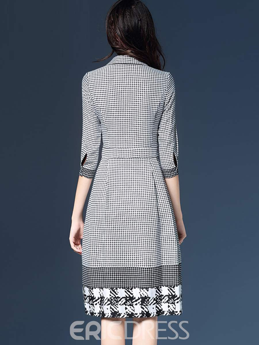 Ericdress Polo Neck Houndstooth 3/4 Length Sleeves A Line Dress