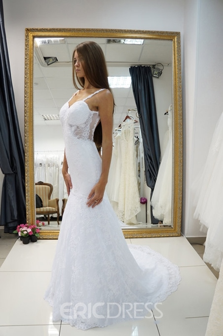 Ericdress Spaghetti Straps Backless Lace Mermaid Wedding Dress