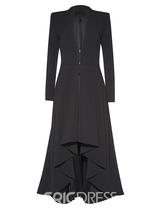 Ericdress Slim Solid Color V-Neck Wave Cut Coat