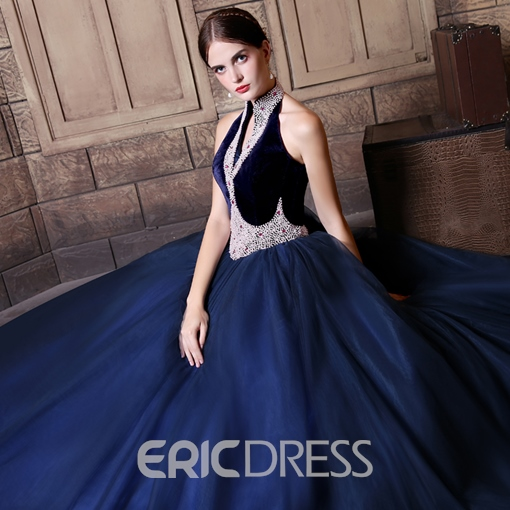 Ericdress Halter Beaded Lace Up Ball Gown Quinceanera Dress