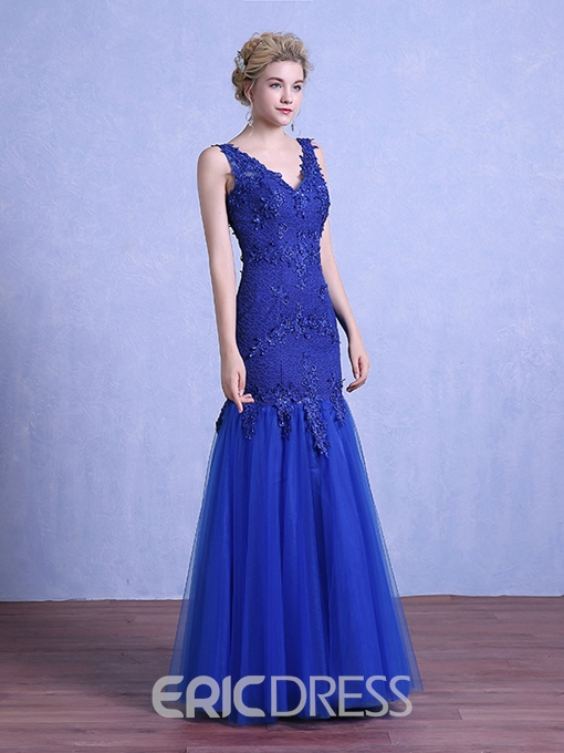 Ericdress Sheath V-Neck Appliques Beading Lace Floor-Length Evening Dress