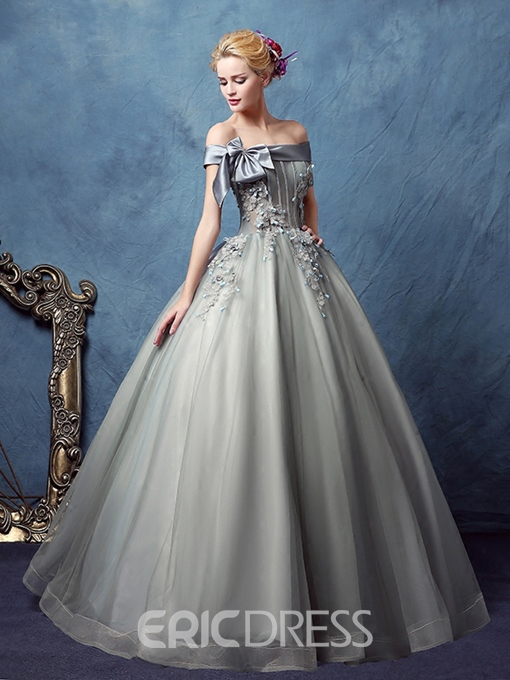 Ericdress Off-the-Shoulder Ball Gown Appliques Bowknot Quinceanera Dress