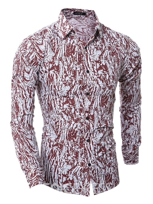 Ericdress Vogue Unique Print Slim Men's Shirt