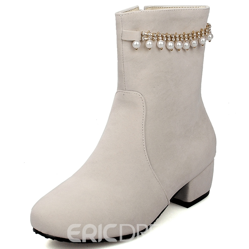 Ericdress Pearl Side Zipper Ankle Boots