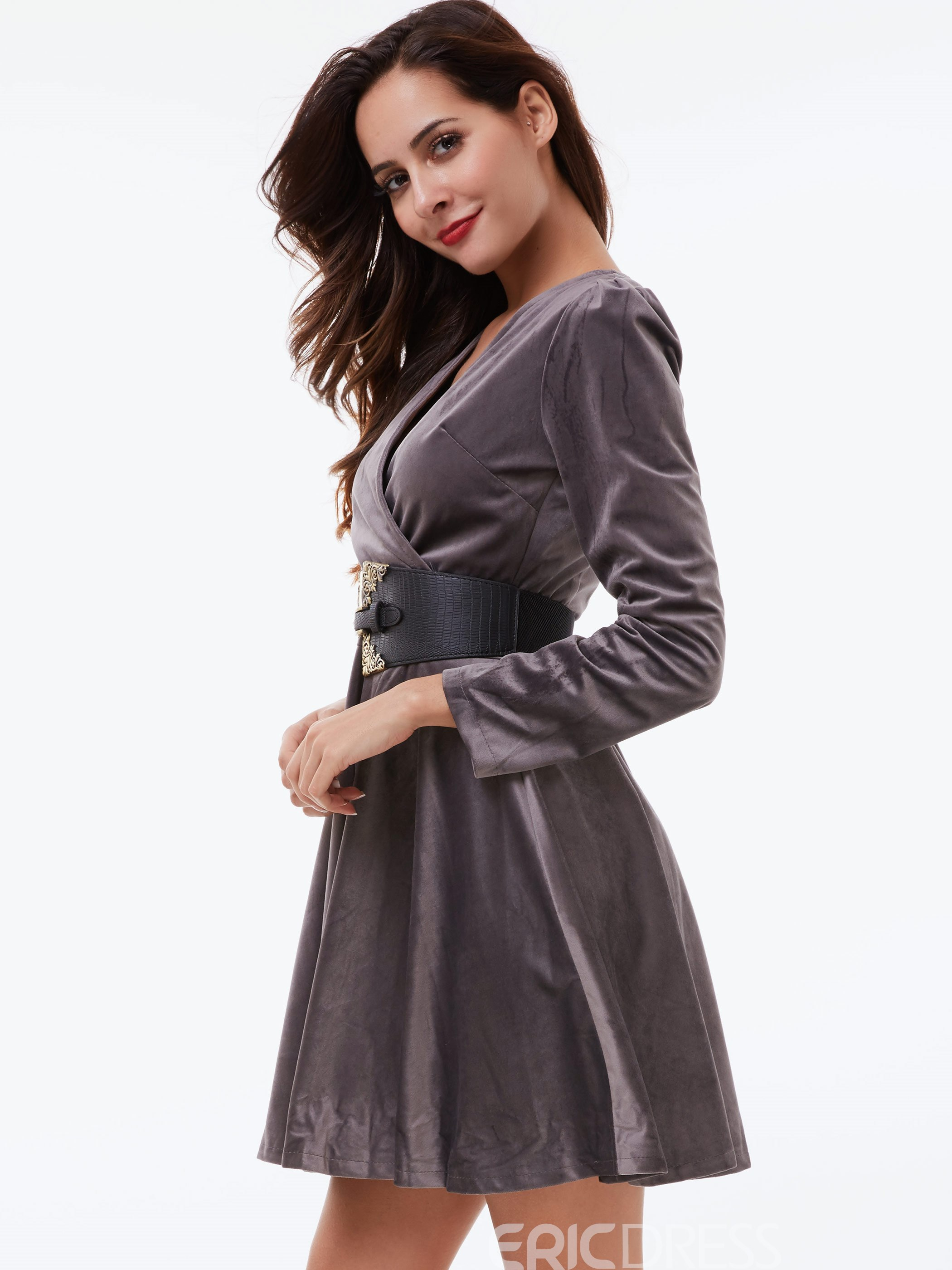 Ericdress Cross V-Neck Belt Above Knee Casual Dress