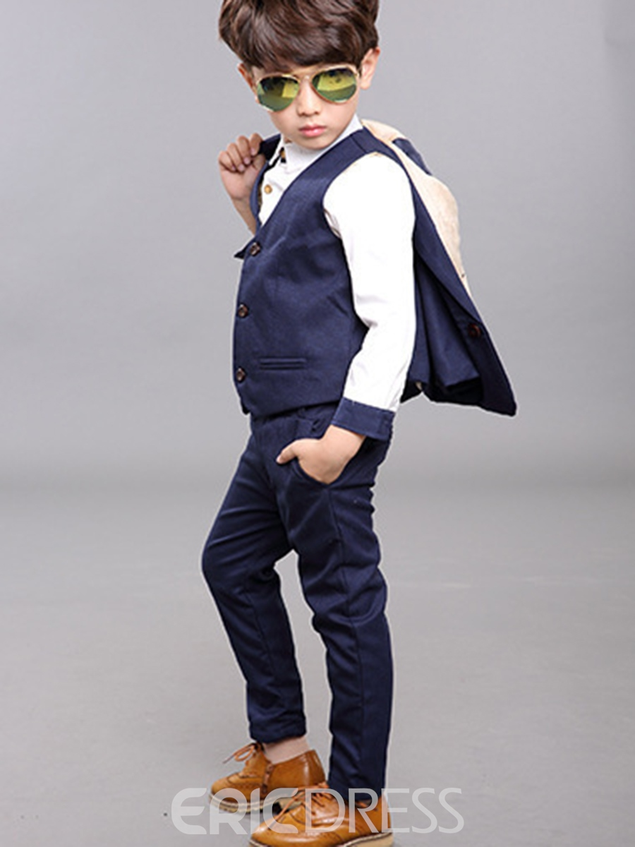 Ericdress British style Two Color Plain 3-Pcs Boys Suit