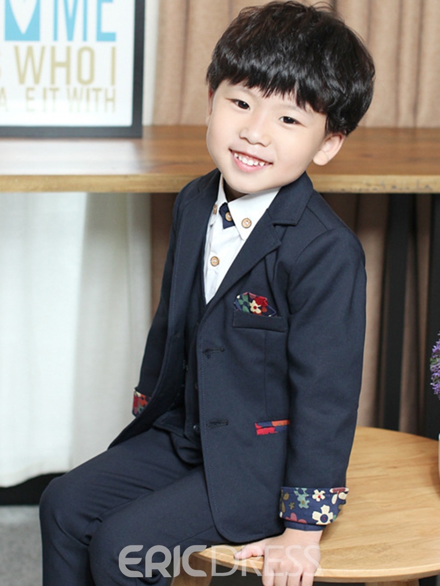 Ericdress British style Floral Three-Piece Boys Suit