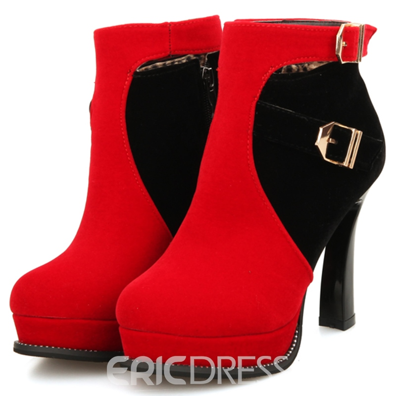 Ericdress Color Block Buckle Platform High Heel Boots