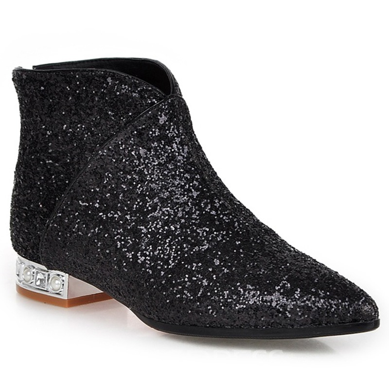 Ericdress Special Sequins Point Toe Ankle Boots