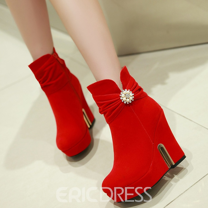 Ericdress Rhinestone Plain Wedge Heel Women's Ankle Boots
