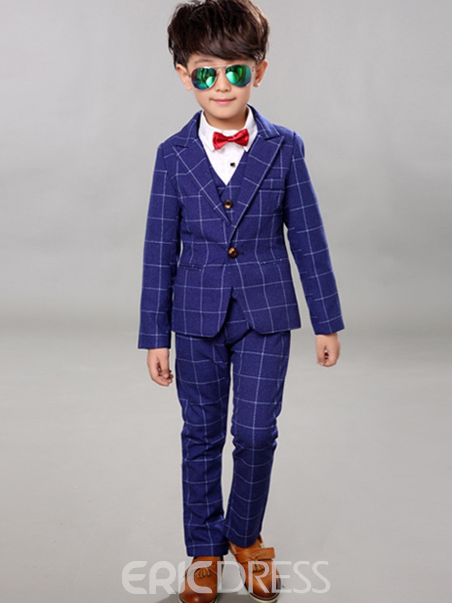 Ericdress 3 Color Plaid Shirt Vest Four-Piece Boys Suit
