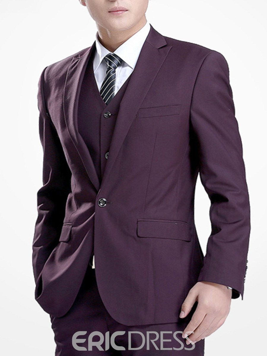 Ericdress Plain One Button Slim Men's Suit