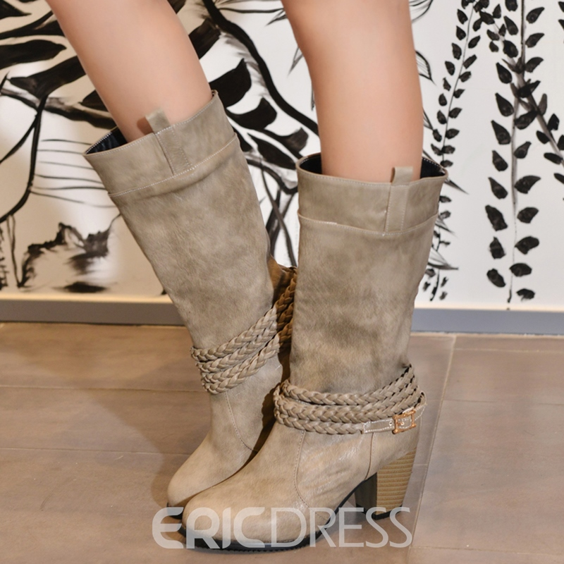 Ericdress PU Round Toe Slip-On Block Heel Knee High Boots